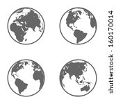 Earth Globe Emblem. Icon Set....