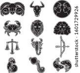 vector set of zodiac signs....   Shutterstock .eps vector #1601729926