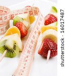 skewer of fruits   healthy diet | Shutterstock . vector #16017487