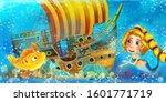 cartoon ocean scene and the...   Shutterstock . vector #1601771719