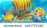 cartoon ocean scene and the...   Shutterstock . vector #1601772160