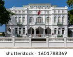 White Hall, office of the Prime Minister of Trinidad and Tobago, Port of Spain city, Caribbean. One of the Magnificent Seven, Whitehall, originally Rosenweg. National flag flying.