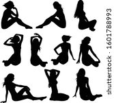 set of vector silhouettes of... | Shutterstock .eps vector #1601788993