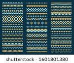border  frame  brush line set.... | Shutterstock .eps vector #1601801380