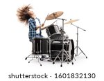 Female Drummer Playing On A...