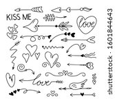 valentines day set arrows ... | Shutterstock .eps vector #1601844643