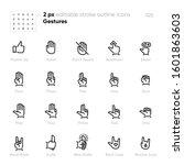 hand gesture outline vector... | Shutterstock .eps vector #1601863603