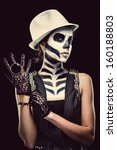Woman With Skeleton Face Art...