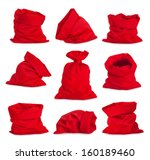 set of santa claus red bags ... | Shutterstock . vector #160189460