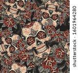 skull and roses sugar skull... | Shutterstock .eps vector #1601964280