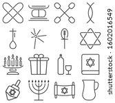 Hanukkah Icons Set. Outline...