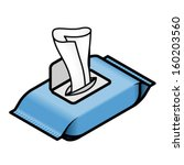 an open pack of wet wipes ... | Shutterstock .eps vector #160203560