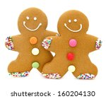 two christmas gingerbread men... | Shutterstock . vector #160204130