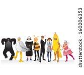 fancy dress party people in...   Shutterstock . vector #160206353
