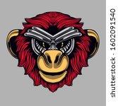 monkey head artwork... | Shutterstock .eps vector #1602091540