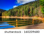 fence on the Lake in mountain near coniferous forest - stock photo