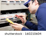 portrait of an electrician at... | Shutterstock . vector #160210604