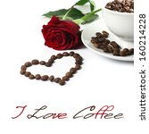 Red Rose  Heart And Coffe