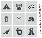 vector black road icons set | Shutterstock .eps vector #160218620