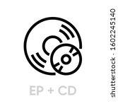 vinyl ep plus cd records icon.... | Shutterstock .eps vector #1602245140