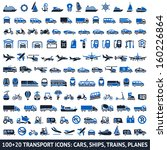 100 and 20 transport blue icons ... | Shutterstock .eps vector #160226864