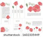 set of poppy invitation cards...   Shutterstock .eps vector #1602335449