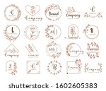 vector floral border and logo... | Shutterstock .eps vector #1602605383