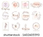 set of hand drawn watercolor...   Shutterstock .eps vector #1602605593