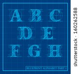 vector blueprint style font... | Shutterstock .eps vector #160262588