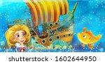 cartoon ocean scene and the...   Shutterstock . vector #1602644950
