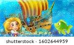 cartoon ocean scene and the...   Shutterstock . vector #1602644959