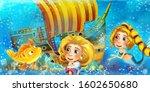 cartoon ocean scene and the...   Shutterstock . vector #1602650680