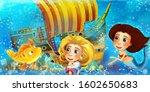 cartoon ocean scene and the...   Shutterstock . vector #1602650683
