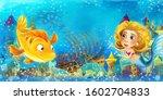 cartoon ocean and the mermaid...   Shutterstock . vector #1602704833