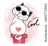 happy cool cute white fluffy...   Shutterstock .eps vector #1602772963