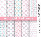 10 Light floral romantic vector patterns (tiling). Shabby chic pink and blue colors. Endless texture can be used for printing onto fabric and paper or scrap booking. Abstract flower wallpaper - stock vector