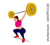 woman lifting weights with... | Shutterstock .eps vector #1602951133