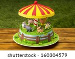 Farm Themed Cake On Picnic...