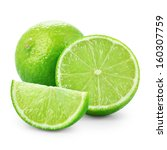 limes with slices isolated on... | Shutterstock . vector #160307759