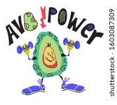 avocado power banner or card... | Shutterstock .eps vector #1603087309