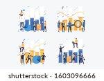 businesspeople analyzing bar...   Shutterstock .eps vector #1603096666