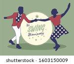 young couple dancing jazz swing.... | Shutterstock .eps vector #1603150009