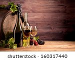 still life of wine with wooden... | Shutterstock . vector #160317440