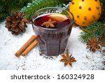 spicy mulled wine in the glass... | Shutterstock . vector #160324928