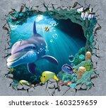 3d Broken Wall Underwater Fish...