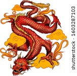 red traditional chinese dragon... | Shutterstock .eps vector #1603287103