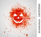 splashed pumpkin face | Shutterstock .eps vector #160333064
