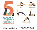 infographic of 5 yoga poses for ... | Shutterstock .eps vector #1603355869