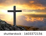 Cross Crucifixion On A Mountain ...