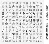 100 Back to School doodle hand-draw icon set - stock vector